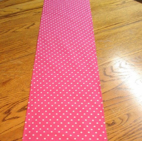 Pink  and White Polka dot Table Runner- Minnie Mouse style