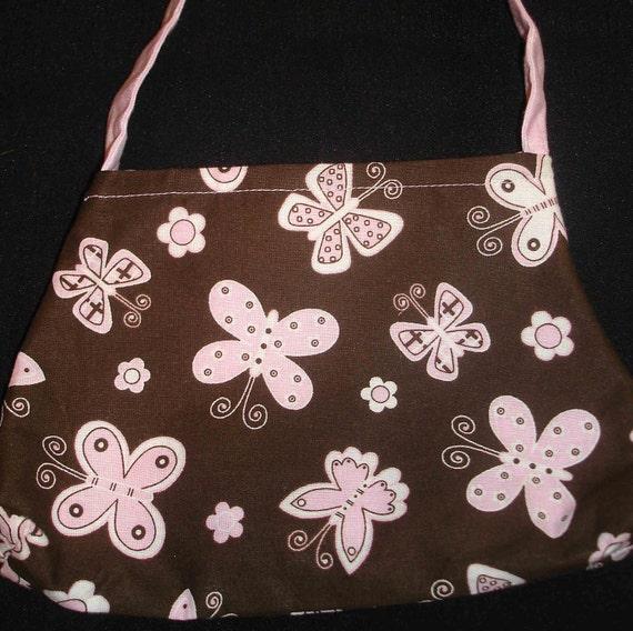 Little Girls Purse, Pink Butterflies on Brown