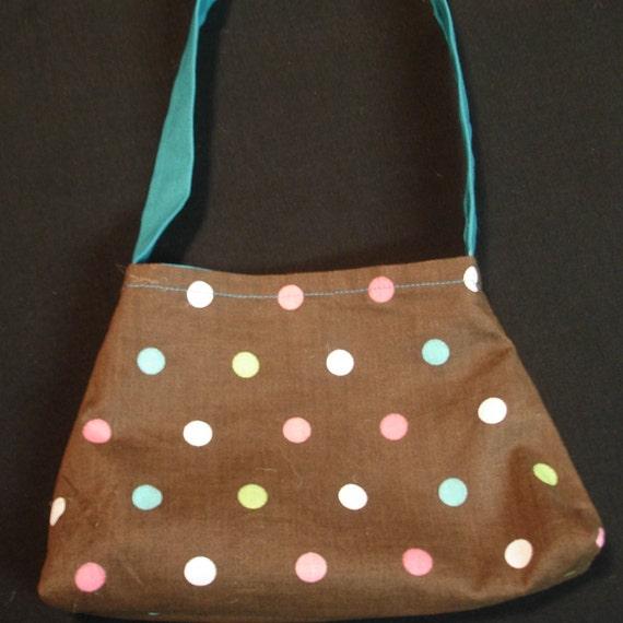 Little Girls Purse,Polka dots on Brown