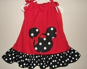 Custom Boutique Red and Black Dot Appliqued Minnie Mouse Pillowcase Style Dress FREE SHIPPING