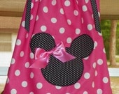 Boutique Minnie Mouse Appliqued Hot Pink and White Dot Pillowcase Dress FREE SHIPPING
