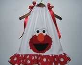Custom Boutique Appliqued Elmo White and Red Dot Pillowcase Dress   FREE SHIPPING