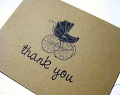 Baby Thank You Card, Brown with Carriage