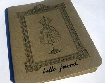 Blank Note Card, Hello Friend Vintage Dress Form, Set of 5