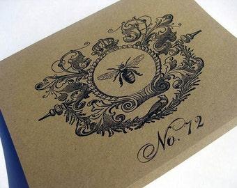 Blank Card Vintage Bee, Set of 5