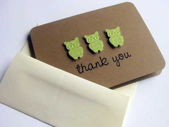 Baby Shower Thank You Cards Little Green Owls Set of 8
