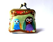 Owl coin purse on branches green brown colorful