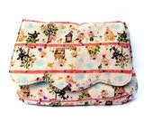 Reserved for Noriko - Clutch purse Three Little Pigs on linen big bad wolf fairy tale