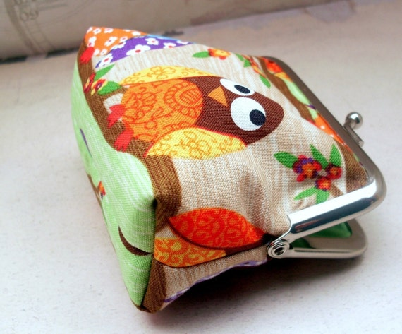 Coin purse with cute owls 'Branching Out'
