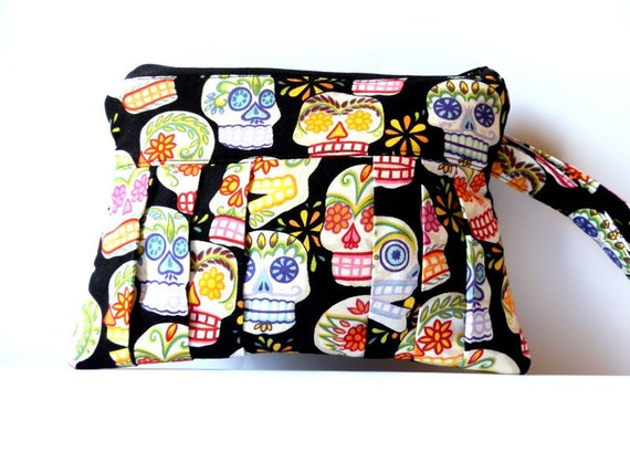 Sugar Skulls wristlet pleated clutch purse zipped pouch color colourful black pink day of the dead tattoo goth punk