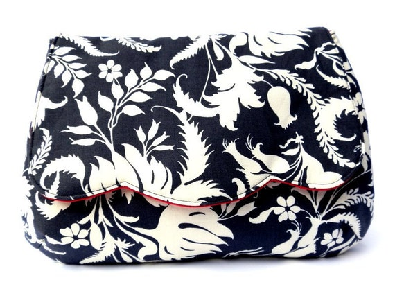 Ivy Bloom clutch purse in charcoal grey and white leaves and flowers amy butler