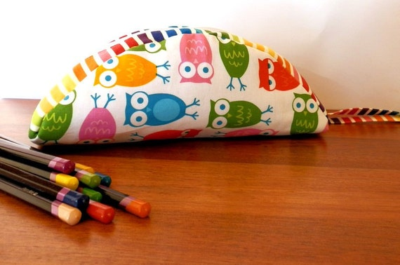 Pencil case colorful owls rainbow stripes zippered pouch
