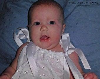 White Eyelet Pillowcase dress for Beach pictures and more, sizes 3mos through 24mos