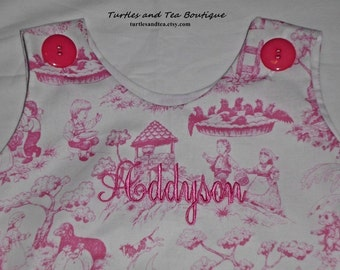 Hot pink and white nursery rhyme toile Girls Monogrammed Bubble, sizes 12mos, 18mos and 24mos