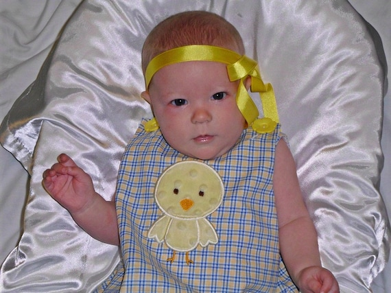 Chick appliqued A line dress for Easter, sizes 2T through 6years