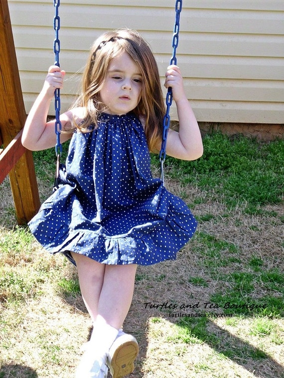 """Navy Blue """"Annie"""" Halter Apron Tunic with Ruffle Shorts, sizes 2T through 6"""