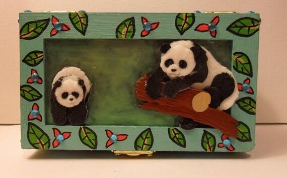 Panda Jewelry Box Hand Painted Keepsake Box