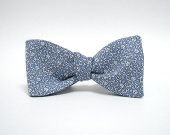 Light Blue Filigree Freestyle Bow Tie
