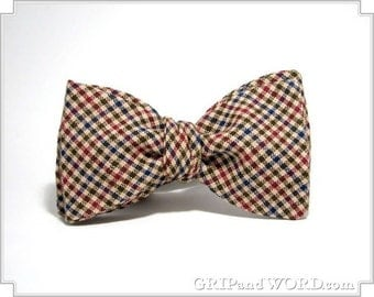 Tan, Red, Green and Blue Gingham Checked Freestyle Bow Tie
