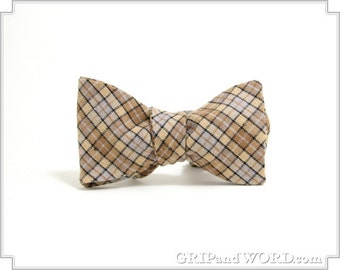 The Watson - Tan and Gray Plaid Freestyle Bow Tie