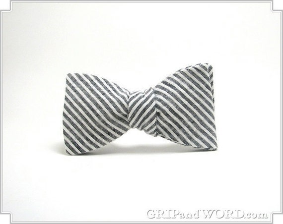 The Pimm - Grey and White Seersucker Bow Tie