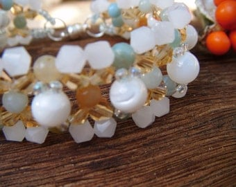Mother of Pearl and Amazonite Bracelet
