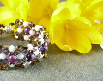Purple Sugilite Jasper and Mother of Pearl Bracelet