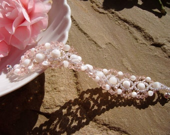 Rose Crystal and Mother of Pearl bracelet