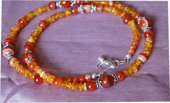 Baltic Amber with Agate Necklace