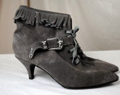Vintage England Steampunk Victorian Suede Lace Up Fringe Granny Boot - 7 1/2