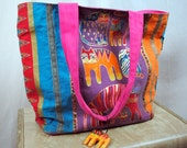 Vintage Colorful Rainbow Cat Tote by Laurel Burch