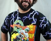 Vintage 1990s Rad Motorcycle Lightning Bolt Tee Shirt