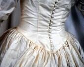 Vintage Victorian Style Steampunk 1960s Wedding Dress Gown
