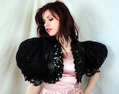 Awesome 80s Black Sequin Bolero Shrug - Puffy Sleeves