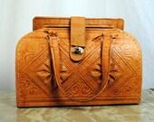 Vintage Ethnic Tooled Leather Purse Bag