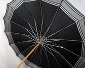 Vintage Mid Century Black Umbrella Parasol Lucite Handle
