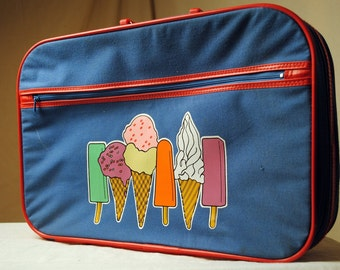 Vintage 80s 1980s Super Cute Ice Cream Suitcase Luggage