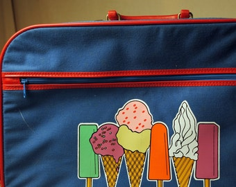 Vintage 80s 1980s Super Cute Ice Cream Suitcase Luggage