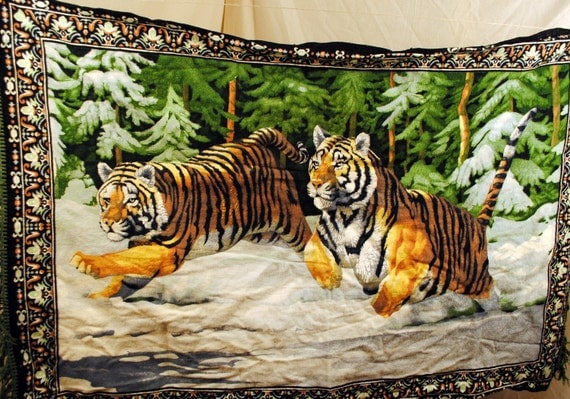 Vintage Tiger Tapestry Wall Hanging