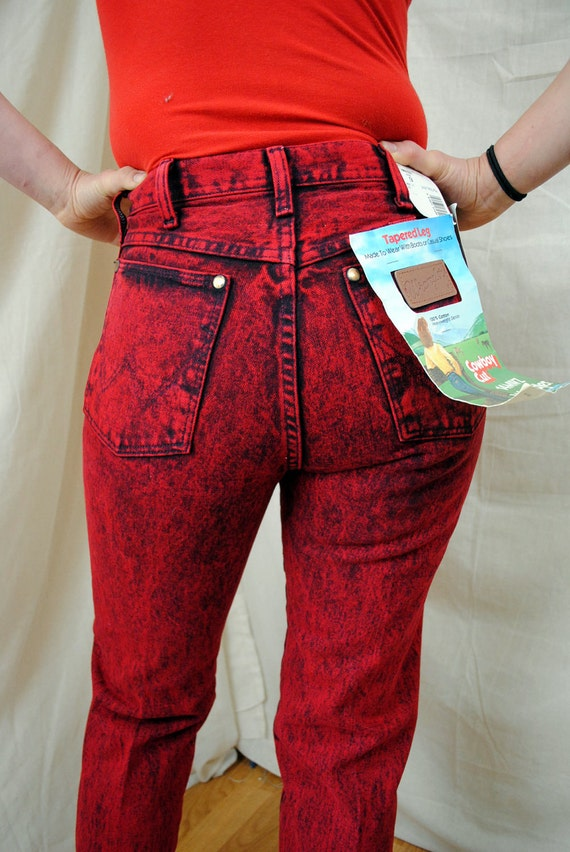 80s Deadstock Wrangler Stone Acid Washed Red Jeans