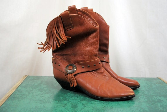 Vintage Leather Craft Fringe Boots - Womens Size 7 1/2 M