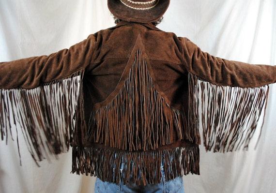 Vintage Boho Mexican Leather Fringe Coat