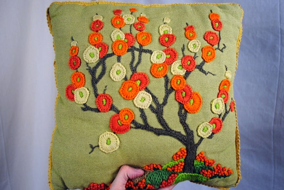 Super Cute Retro 70s Embroidered Tree Pillow