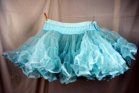Vintage Blue Petticoat Tutu Crinolin
