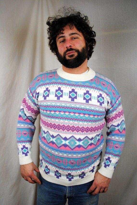WINTER SALE Vintage Southwest Aztec 80s Knit Sweater
