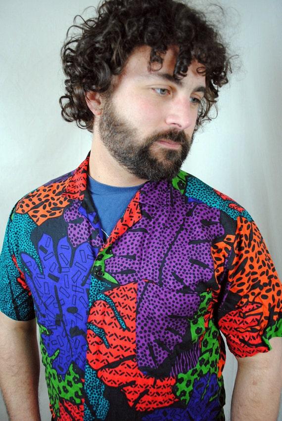 Vintage 1980s Rainbow Weird Daddy Button Up Shirt