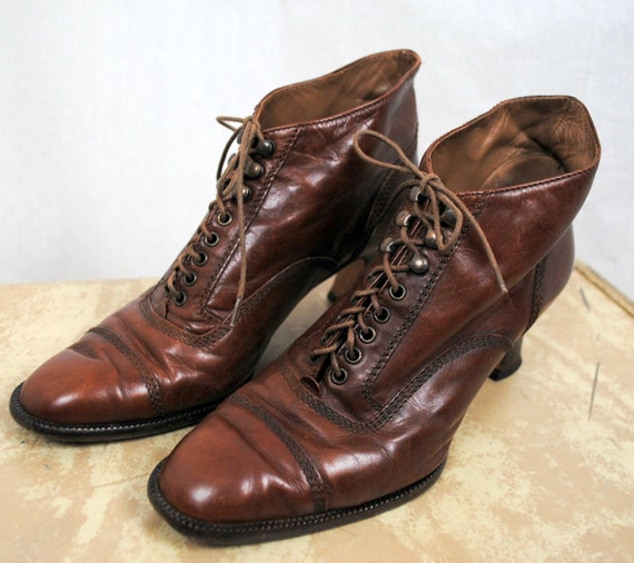 Vintage 80s Petra Steampunk  Heels Lace Up Booties - 7 1/2