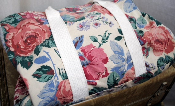 Vintage 80s Floral Gym Tote Bag