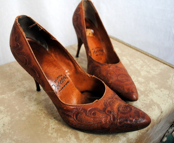 Mid Century Mexican Tooled Leather High Heels Calzado Folklore