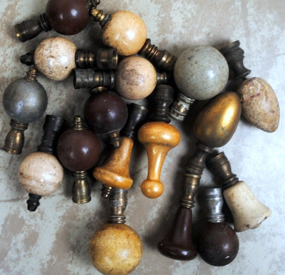 Vintage Art Deco Light Finials - Altered Mixed Media Repurpose Supplies